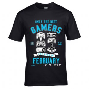 Premium Retro Gamer Gaming Only Best Gamers Born in February Design gift t-shirt